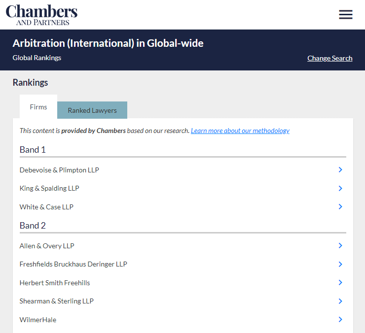 Chambers Best International Arbitration Firms