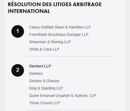 Legal 500 Best International Arbitration Firms Paris