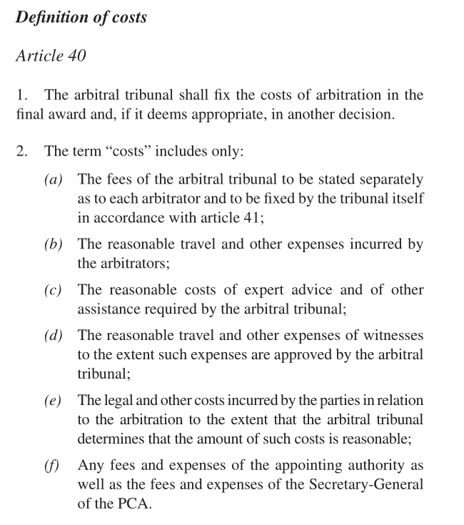 UNCITRAL arbitration in-house costs